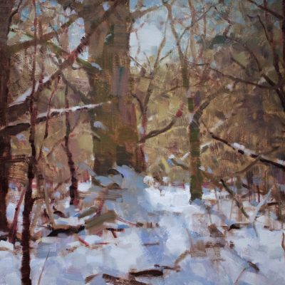 """""""Last of the Snow"""" oil on board. 18x24 in. $2500"""