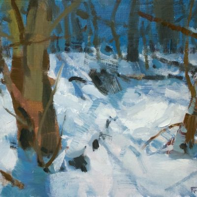 """""""Creek bank"""" oil on canvas. 11x14 inches."""