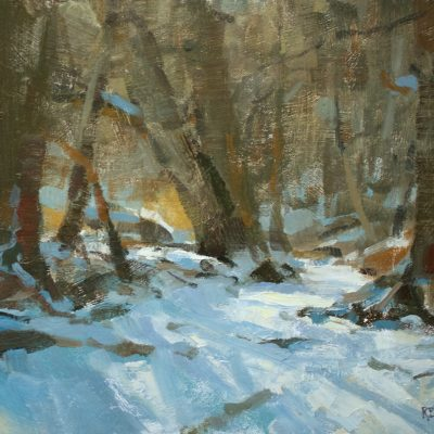 """Peaceful Moment in the Woods"" oil on canvas. 12x16 inches. $1200"