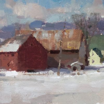 """Early Spring in Vermont"" oil on board. 8x16 inches. $800"