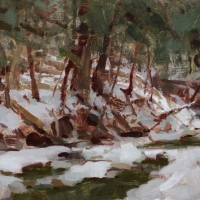"""Houghton Creek"" oil on board. 9.5x15 inches. $800"