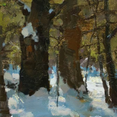 """""""Glowing Foliage"""" oil on board. 8x10 inches."""