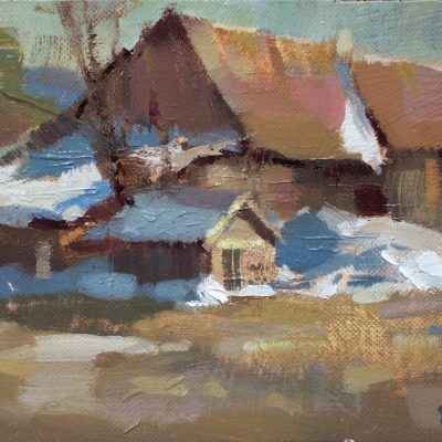"""""""Stowe Barn"""" oil on canvas. 7x10 inches."""