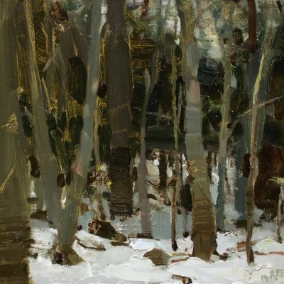 """Clearing in the Woods"" oil on board. 10.5x15 inches. $800"