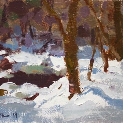 """""""Sketch by the Mountain Stream"""" oil on board. 6x8 in."""