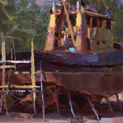"""""""Front Street Tug Boat"""" 8x12 in. oil on board. Available"""