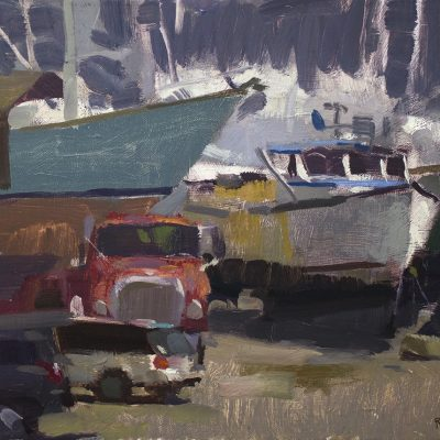 """""""Busy Day in the Boatyard"""" 12x16 in. Oil on canvas. Available"""