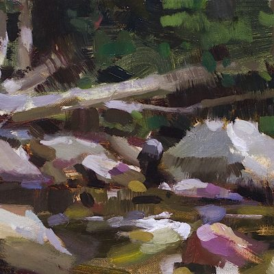 """""""Rocky Vermont Creek"""" 8.5x16 in. oil on canvas. Available."""