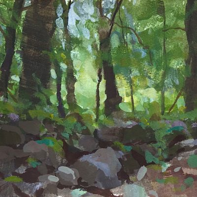 """""""Rocks in the Woods"""" gouache on paper. 6.5x8 inches."""