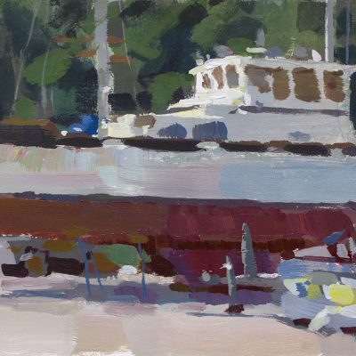 """""""In the Boatyard"""" acrylic on board. 7x11 in. available"""
