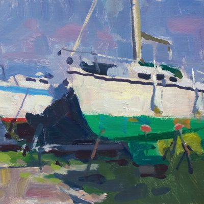 """""""Wells, Maine Sailboats"""" Oil on canvas. 10x14 in. Available"""
