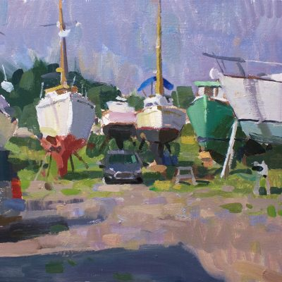 """""""Maine Boatyard"""" Oil on canvas. 16x20 in. Available"""