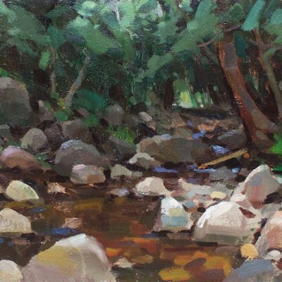"""""""Rocky Creek"""" Oil on board. 15x24 in. Available"""