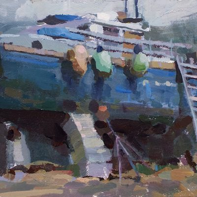"""""""Homer Boatyard"""" Acrylic on board. 6x11 inches. Sold"""