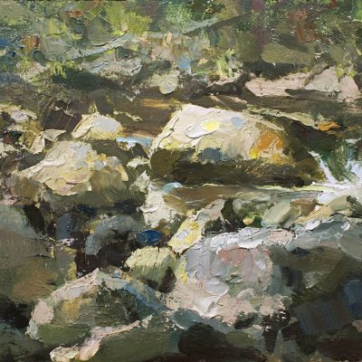 """Day on the Creek"" oil on board. 10x16 in. Sold"