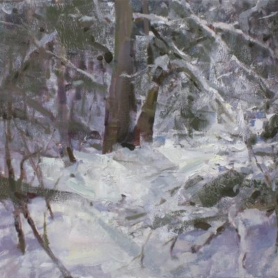 """""""Heavy Snow"""" oil on canvas. 18x24 in. Available"""