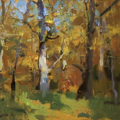 """""""October Woods"""" Oil on board. 11x12 in. Available"""