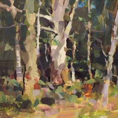 """Autumn Trees"" 8x10 in. Gouache on board. Available"