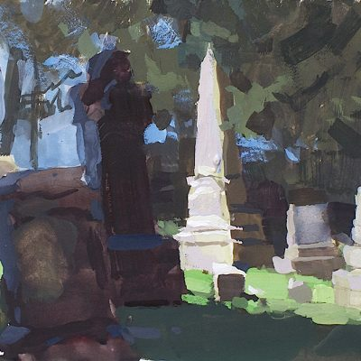 """Morning in Cemetery no. 2"" 6x11 in. gouache on board. Available"