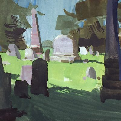"""Morning in Cemetery no. 1"" 6x11 in. gouache on board. Available"