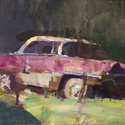 """""""Pink Packard"""" gouache on board. 6x11 in. Available"""