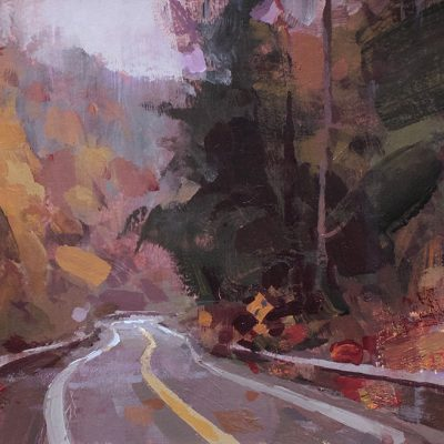 """""""Canyon Road (Fall)"""" Acrylic on board. 6.5x11.5 in. Available"""