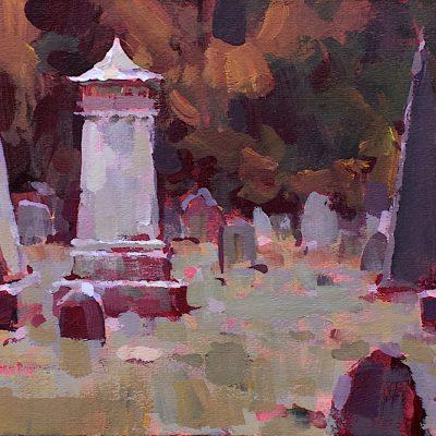 """Autumn Cemetery"" acrylic on board. 6x10.5 in. Available"