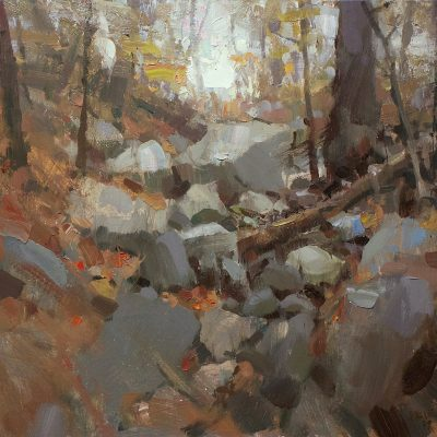 """Up The Ravine"" oil on board. 15.5x17.5 in. Available"