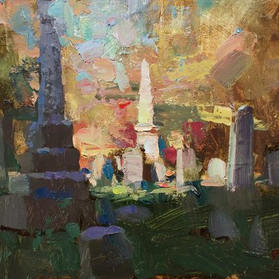 """The Cemetery"" 11x14 in. oil on canvas. Sold"