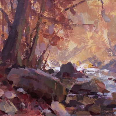 """""""Autumn by the Creek"""" acrylic on board. 7.75x11.75 in. Available"""