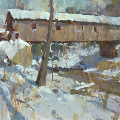 """Covered Bridge"" gouache on board. 7.5x9 in. available"