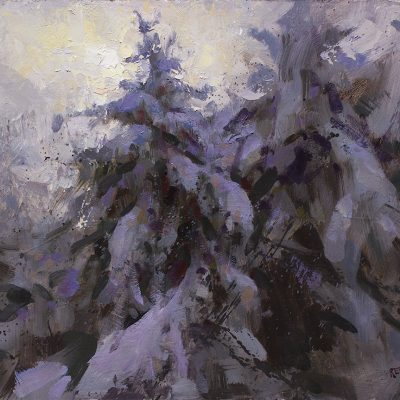 """Heavy with Snow"" oil on board. 12x16 in. available"