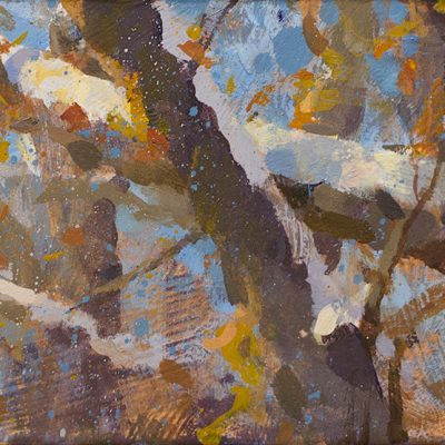 """Branches in the Morning"" acrylic on board. 5x10 in. available"