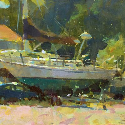 """Rockland Boatyard"" 7x13 in. acrylic on board. available"