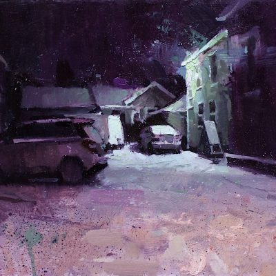 """Evening Snow in Syracuse"" oil on board. 12x16 in. available"