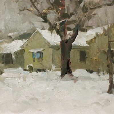 """""""Neighbors"""" oil on board. 7x11 in. Available"""
