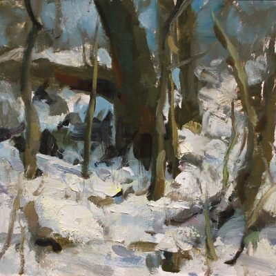 """Waterfall Trees"" oil on board. 8x8 in. available"