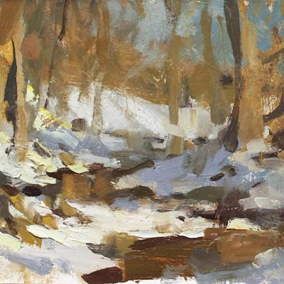 """March Sun Along the Creek"" oil on board. 7x11 in. available"