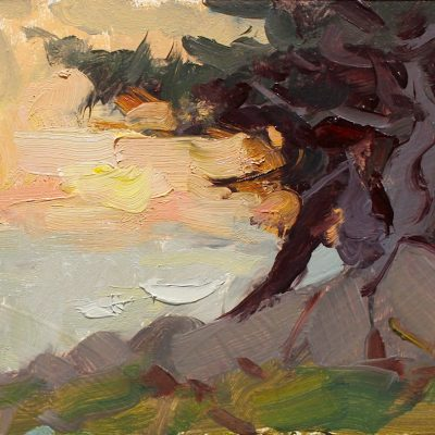 """""""Ghost Tree Sunset Study"""" 4.5x7 in. oil on board"""