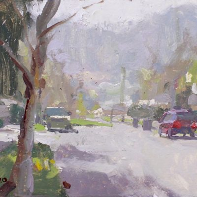 """""""The Rancho District IV (Burbank)"""" 7.25x11 in. oil on board. available."""
