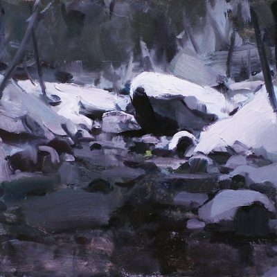 """""""Mountain Stream"""" 10x13.5 in. oil on board. available"""