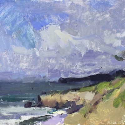 """Santa Cruz Cliffs"" 7.5x10.5 in. oil on canvas. available"