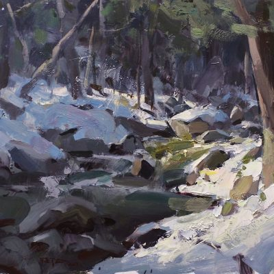 """Mt. Mansfield Stream"" oil on board. 12.25x15 in. available"