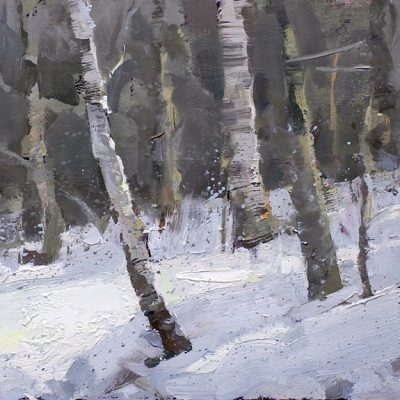 """Birch Trees"" oil on board. 7.5x15 in. available"