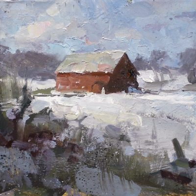 """Stowe Barn"" oil on board. 8x14 in. available"