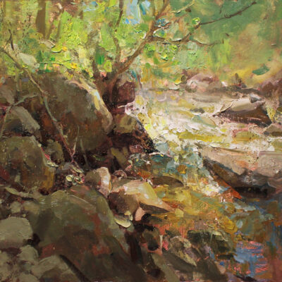 """""""Sun on the Creek"""" oil on board. 16x18 in. available"""