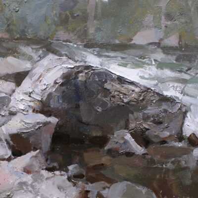 """""""Rugged edge of the Creek"""" oil on board. 12x16 in. available"""