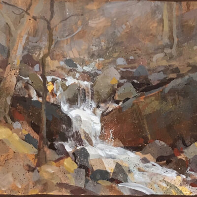 """Early Spring Creek"" Gouache on paper. 9x14 in. available"