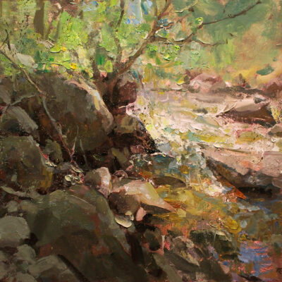 """Sun on the Creek"" oil on board. 16x18 in. available"