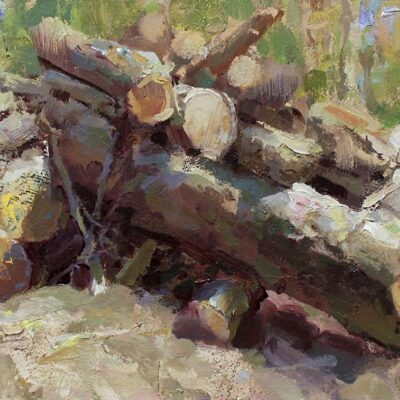 """Log Pile"" 8.5x16.5 in. oil on board. available"